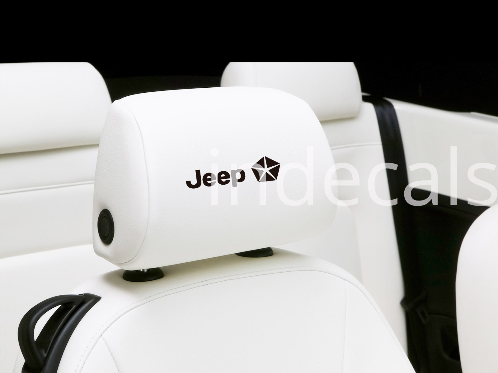 6 x Jeep Stickers for Headrests - Black