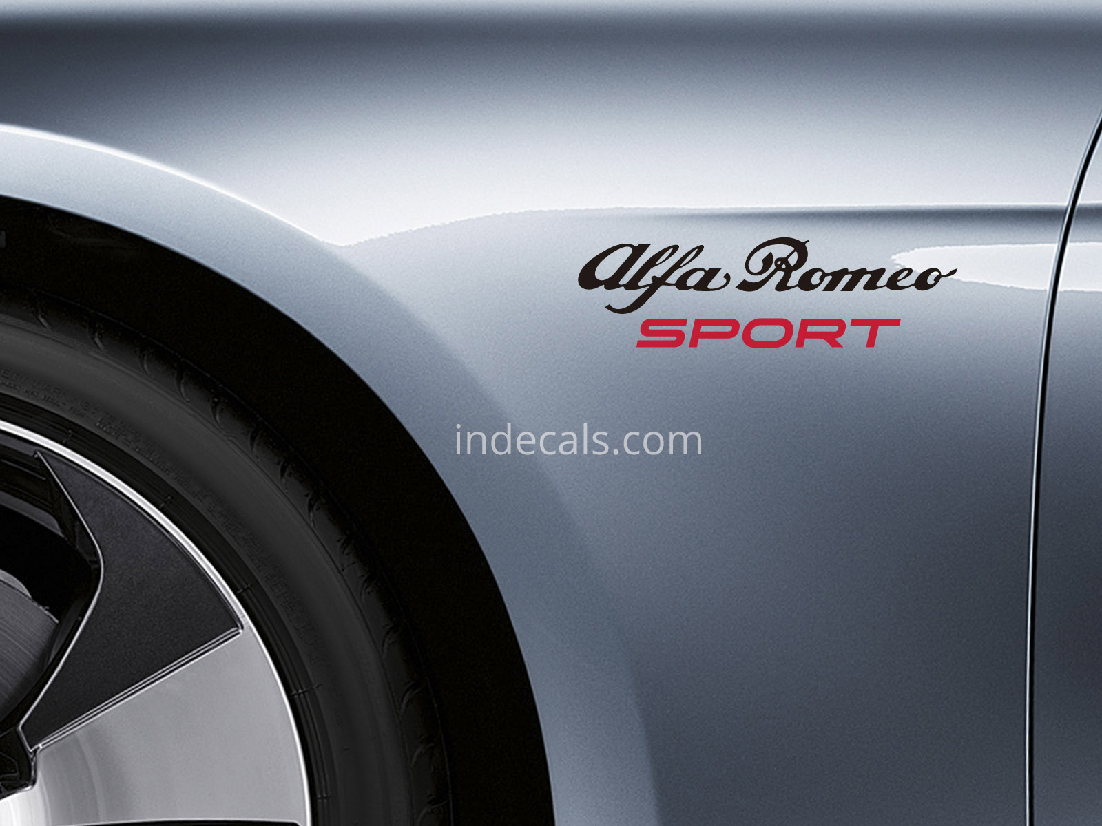 2 x Alfa Romeo Sports stickers for Wings - Black & Red