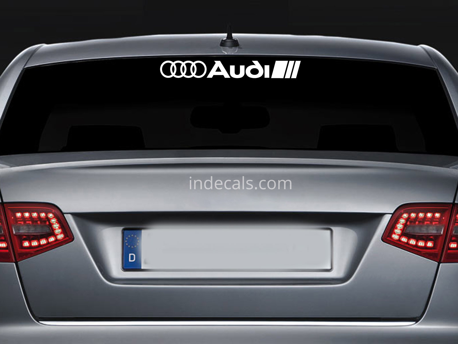 1 x Audi Sticker for Windshield or Back Window - White