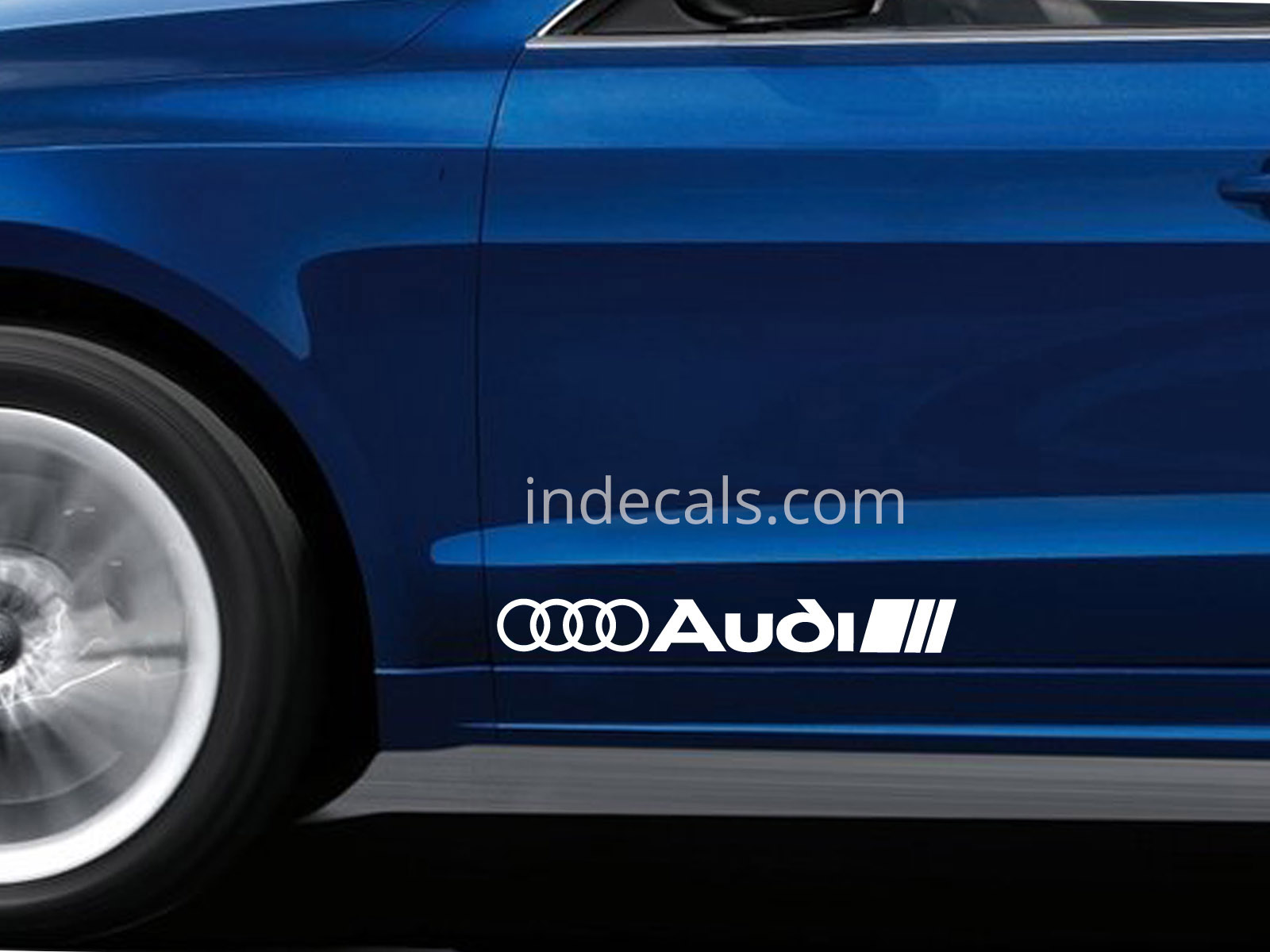 2 x Audi Stickers for Doors Large - White