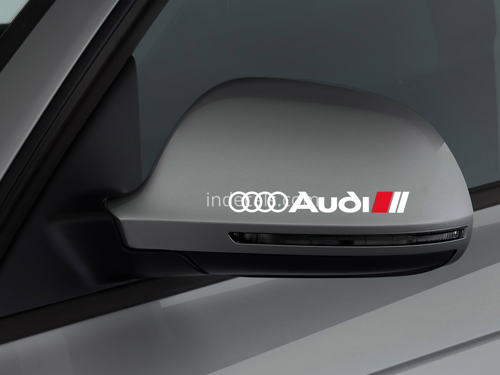 3 x Audi Stickers for Mirror - White