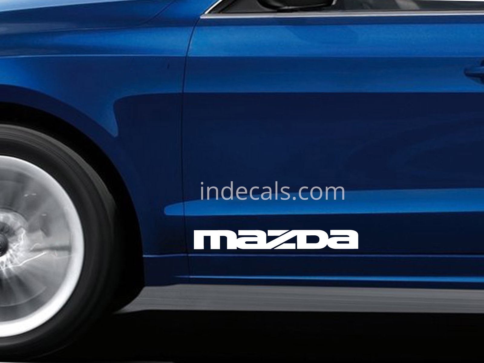 2 x Mazda Stickers for Doors Large - White