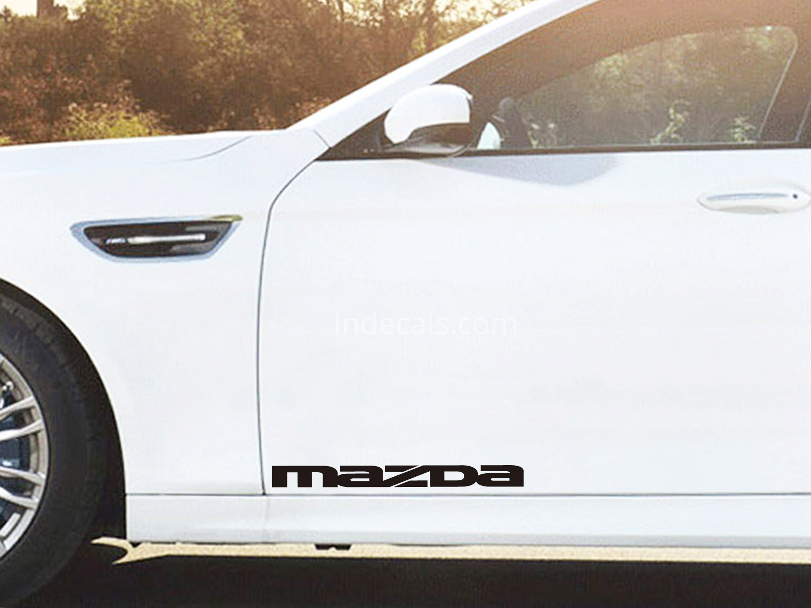 2 x Mazda Stickers for Doors Large - Black