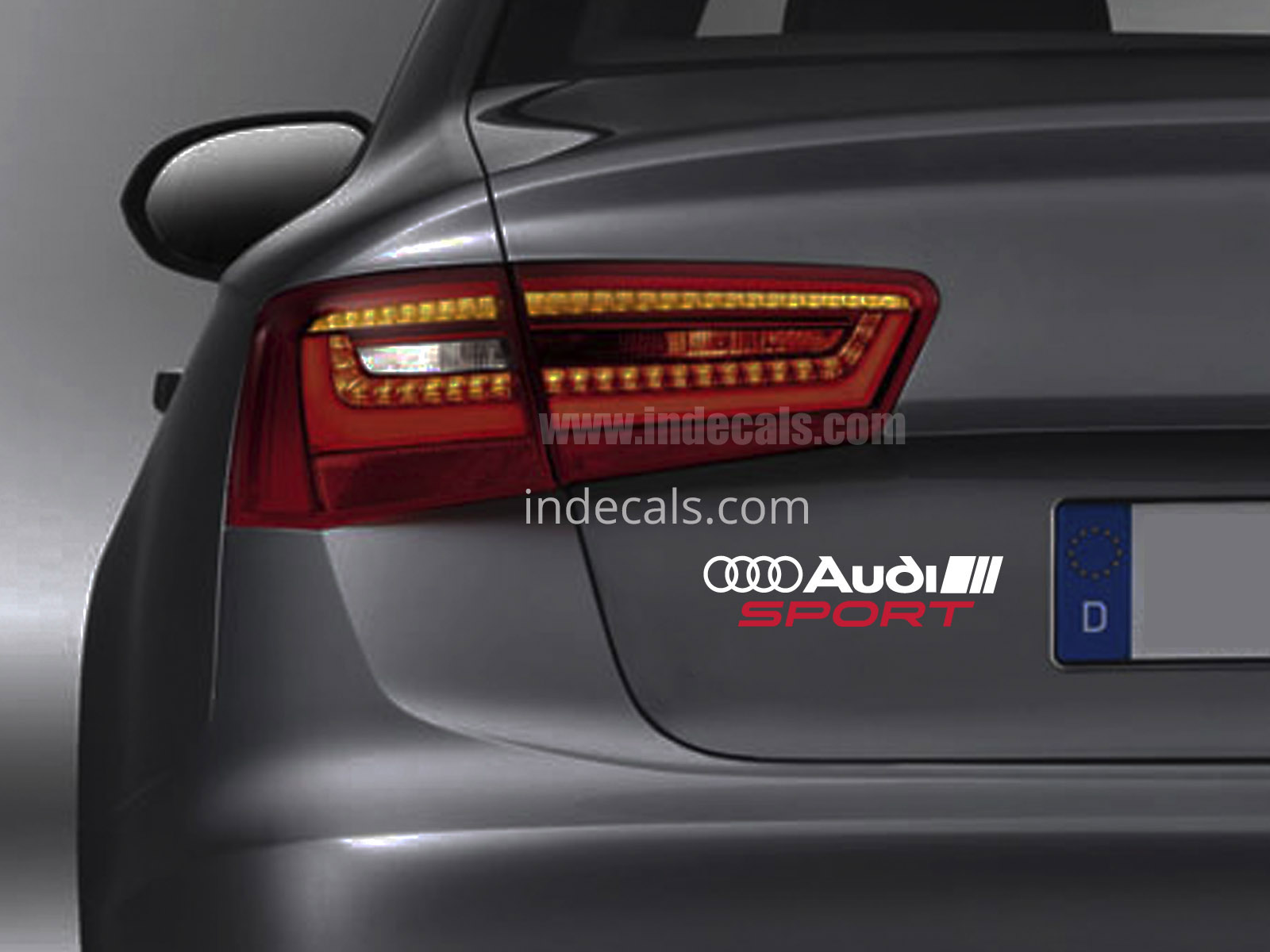 1 x Audi Sports Sticker for Trunk - White & Red