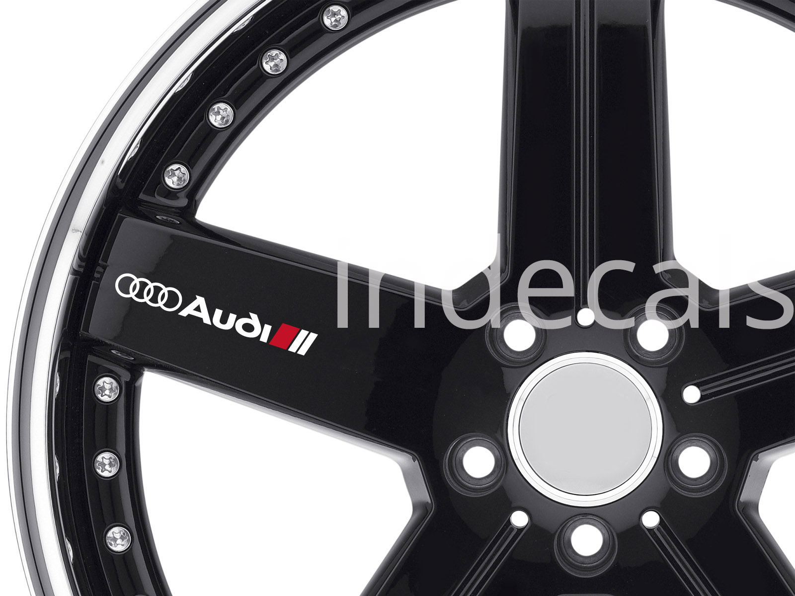 6 x Audi Stickers for Wheels - White