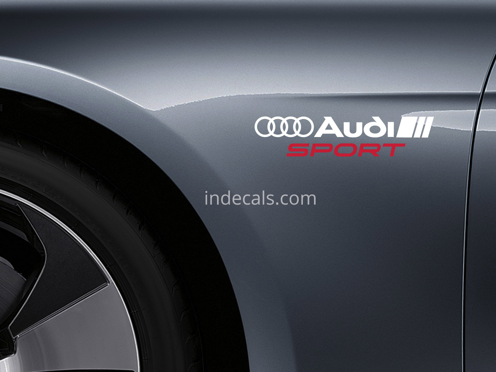 2 x Audi Sports Stickers for Wings - White & Red