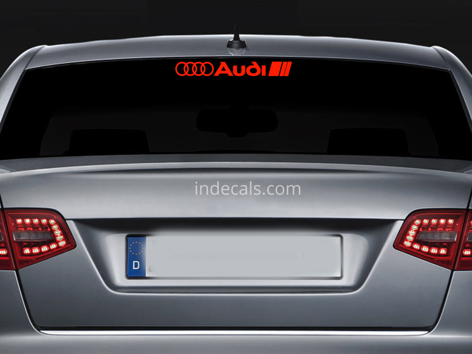 1 x Audi Sticker for Windshield or Back Window - Red