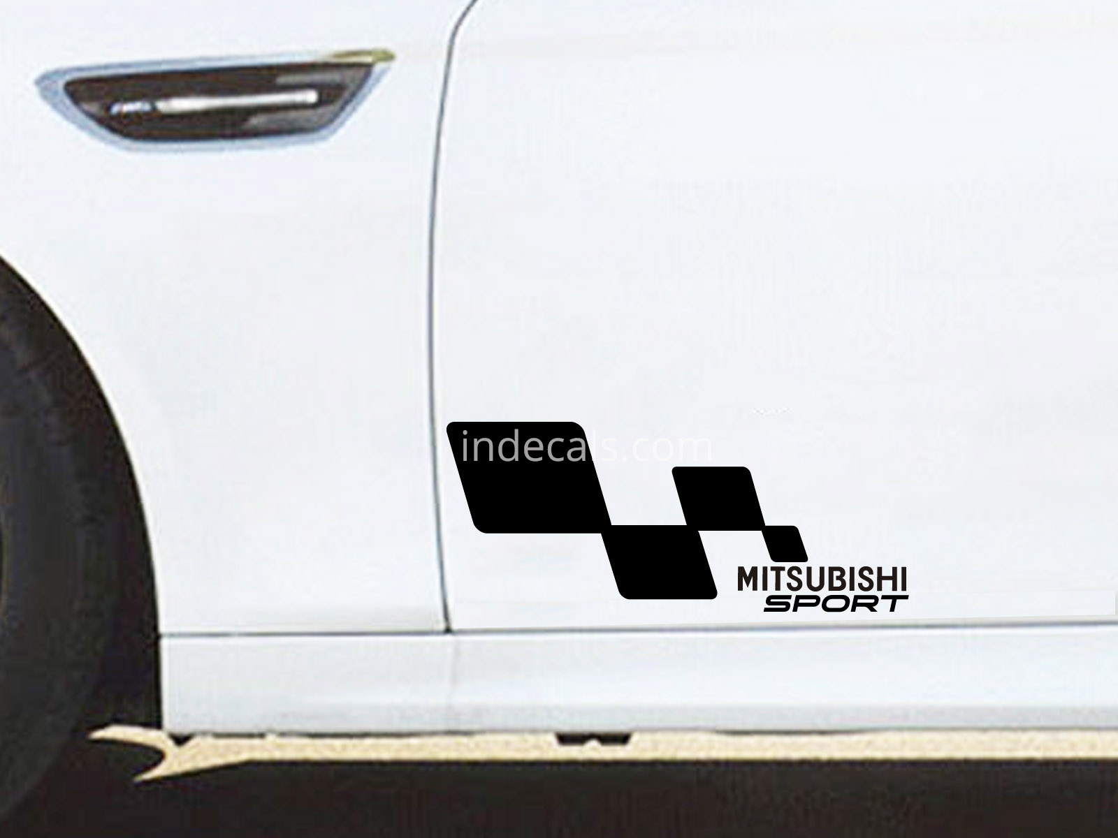 2 X Mitsubishi Racing Flag Stickers Black Indecals Com