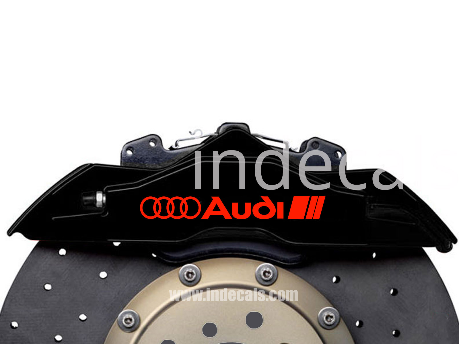 6 x Audi Stickers for Brakes - Red