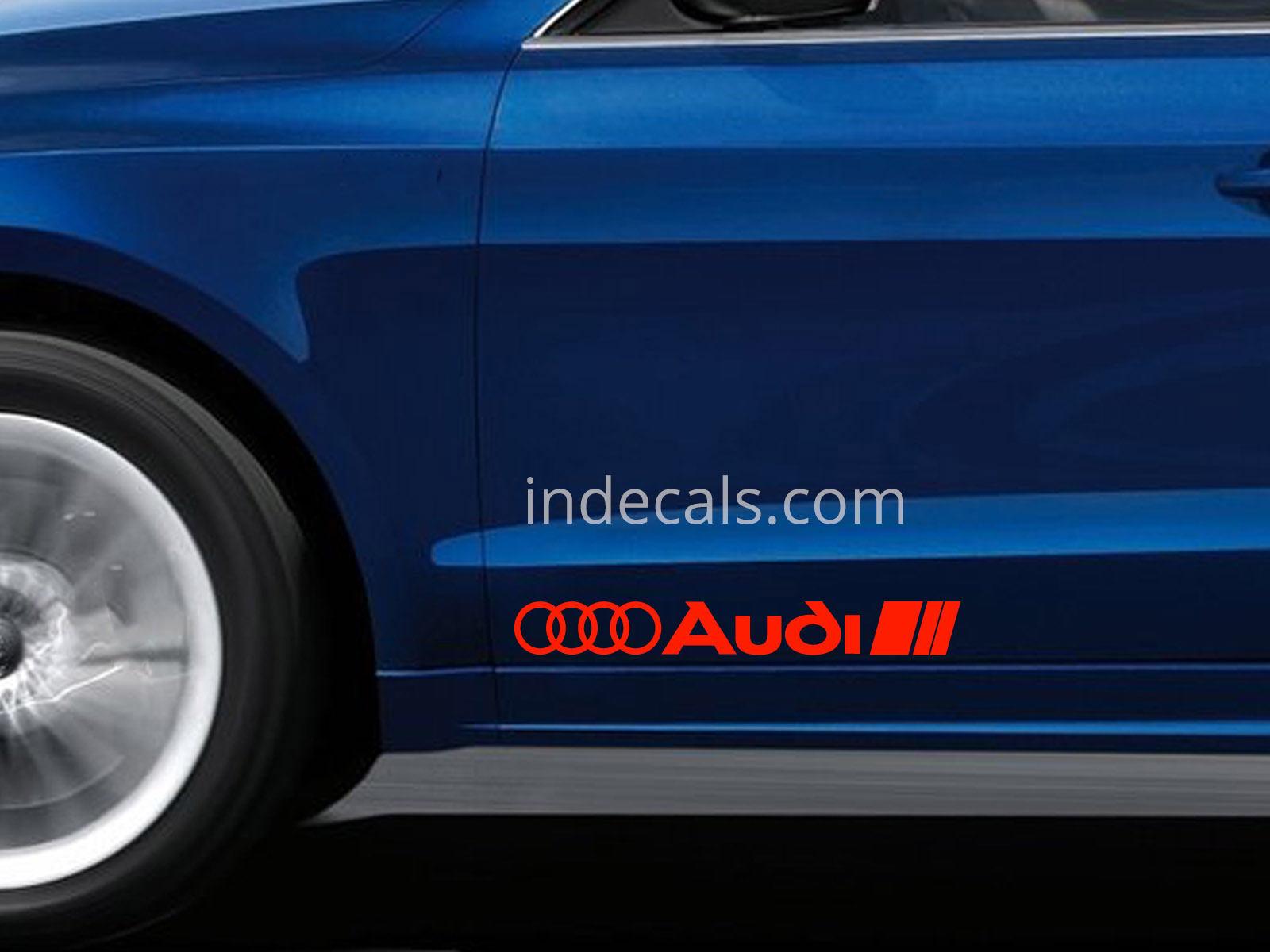 2 x Audi Stickers for Doors Large - Red