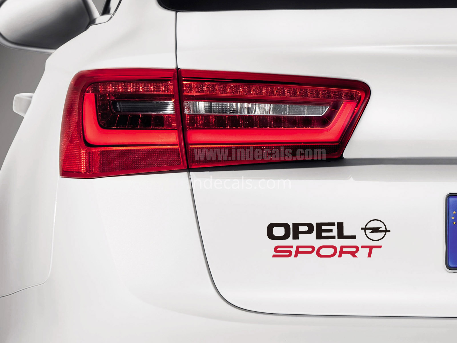 1 x Opel Sports Sticker for Trunk - Black & Red