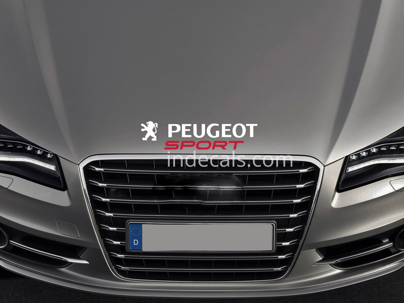 1 x Peugeot Sport Sticker for Bonnet - White & Red