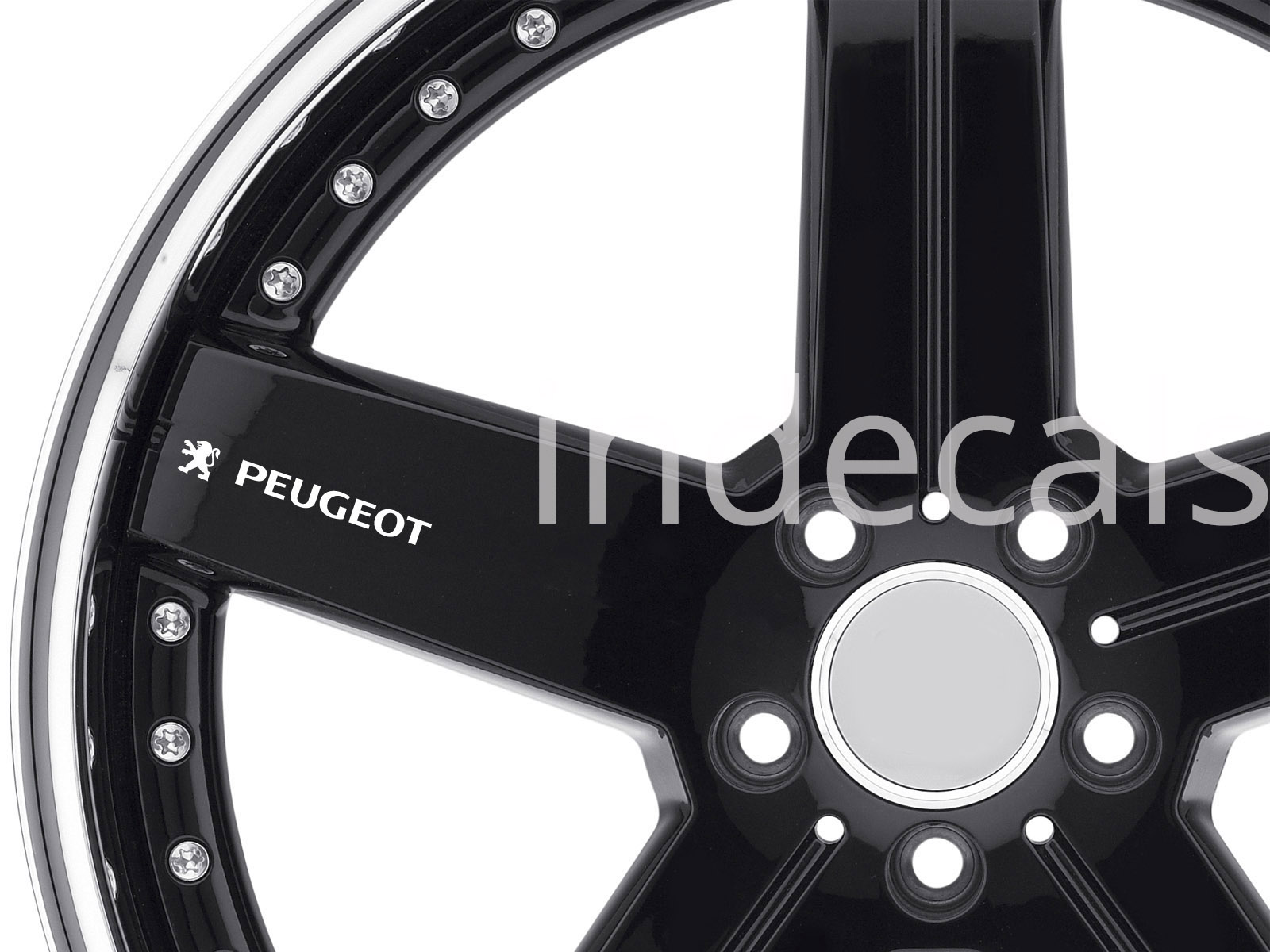 6 x Peugeot Stickers for Wheels - White