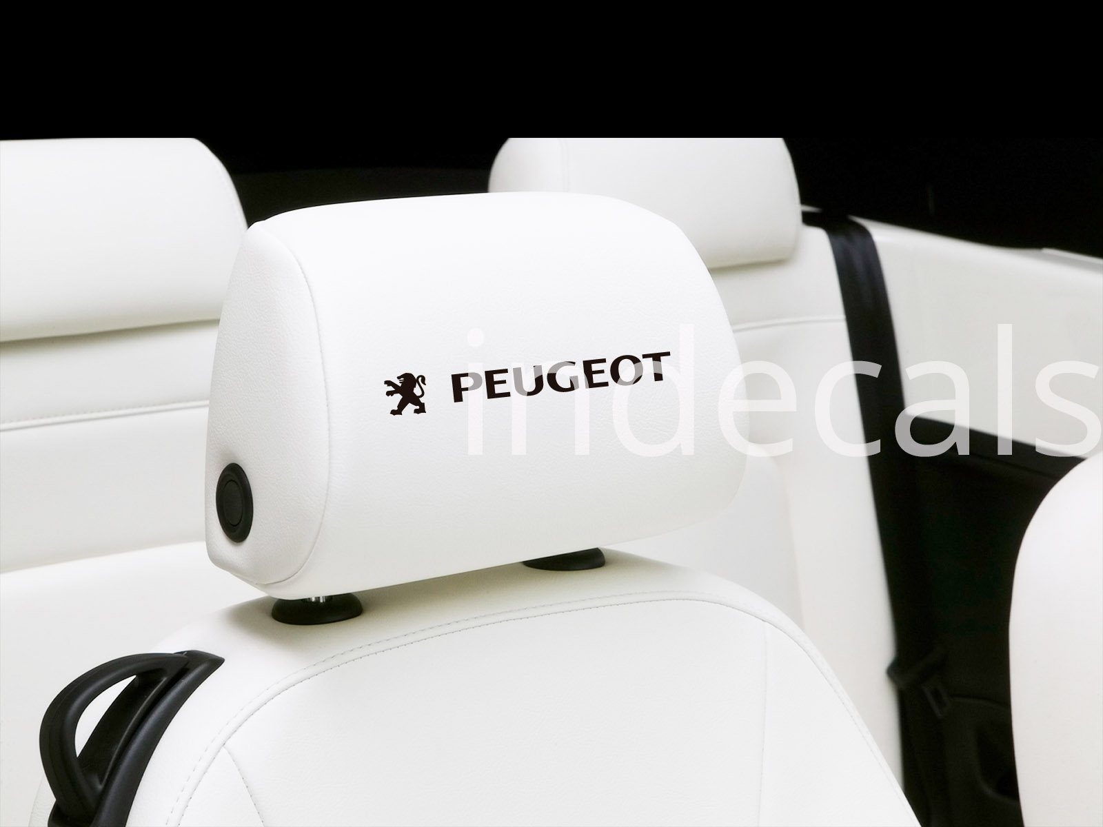 6 x Peugeot Stickers for Headrests - Black