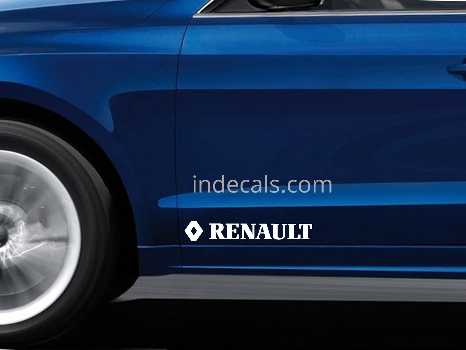 2 x Renault Stickers for Doors Large - White
