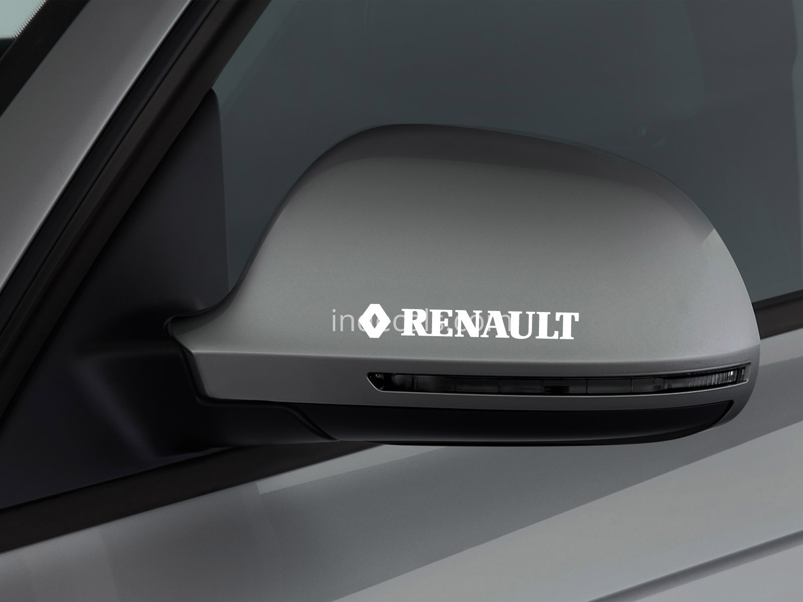 3 x Renault Stickers for Mirror - White