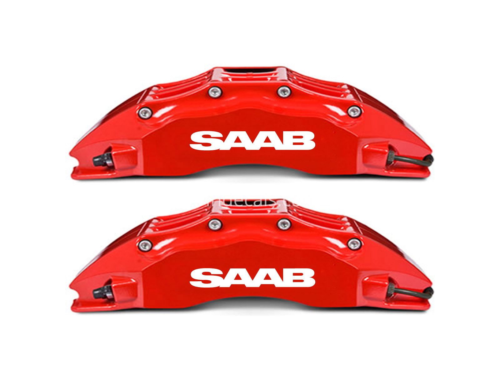 6 x Saab Stickers for Brakes - White