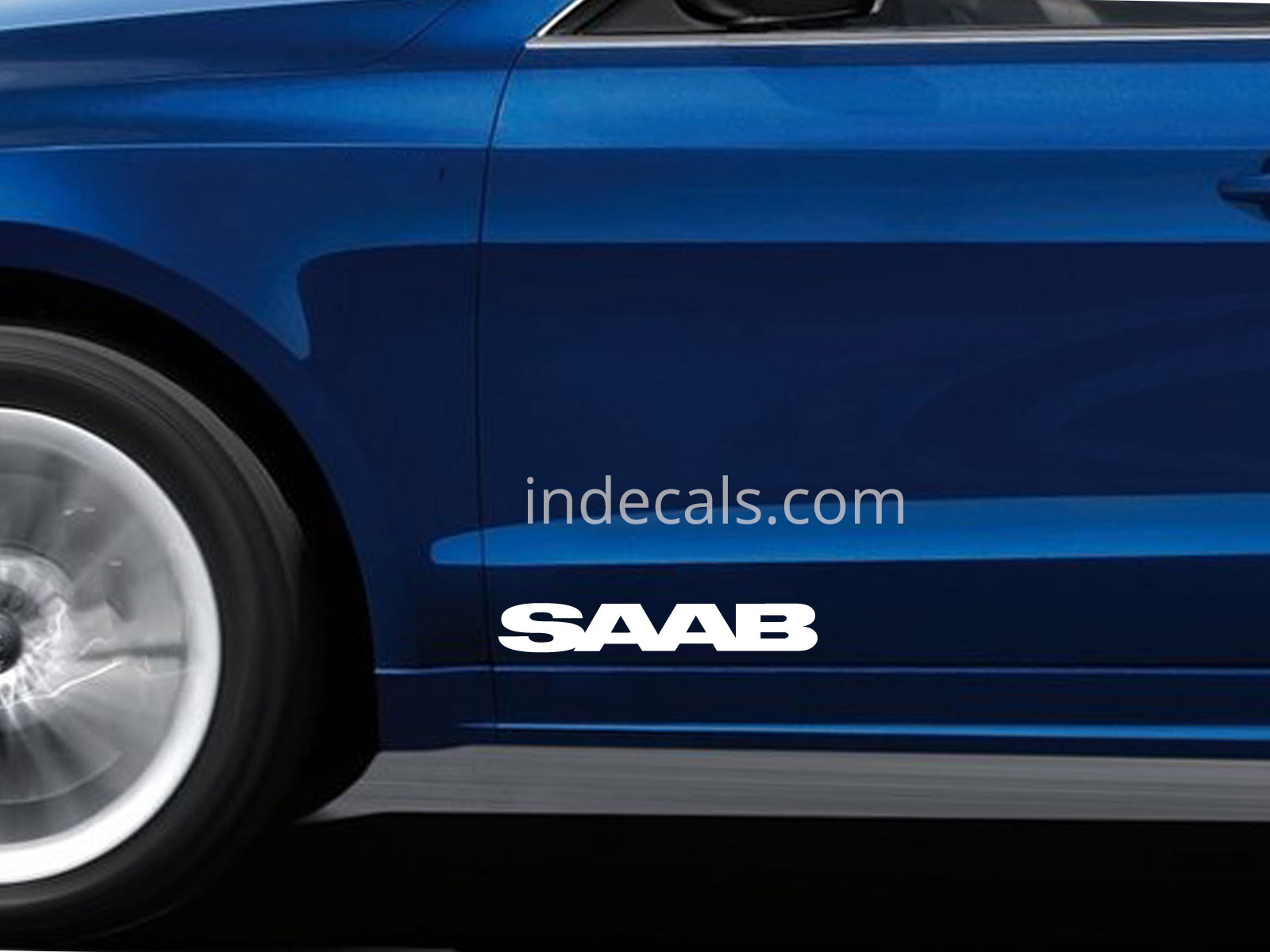 2 x Saab Stickers for Doors Large - White