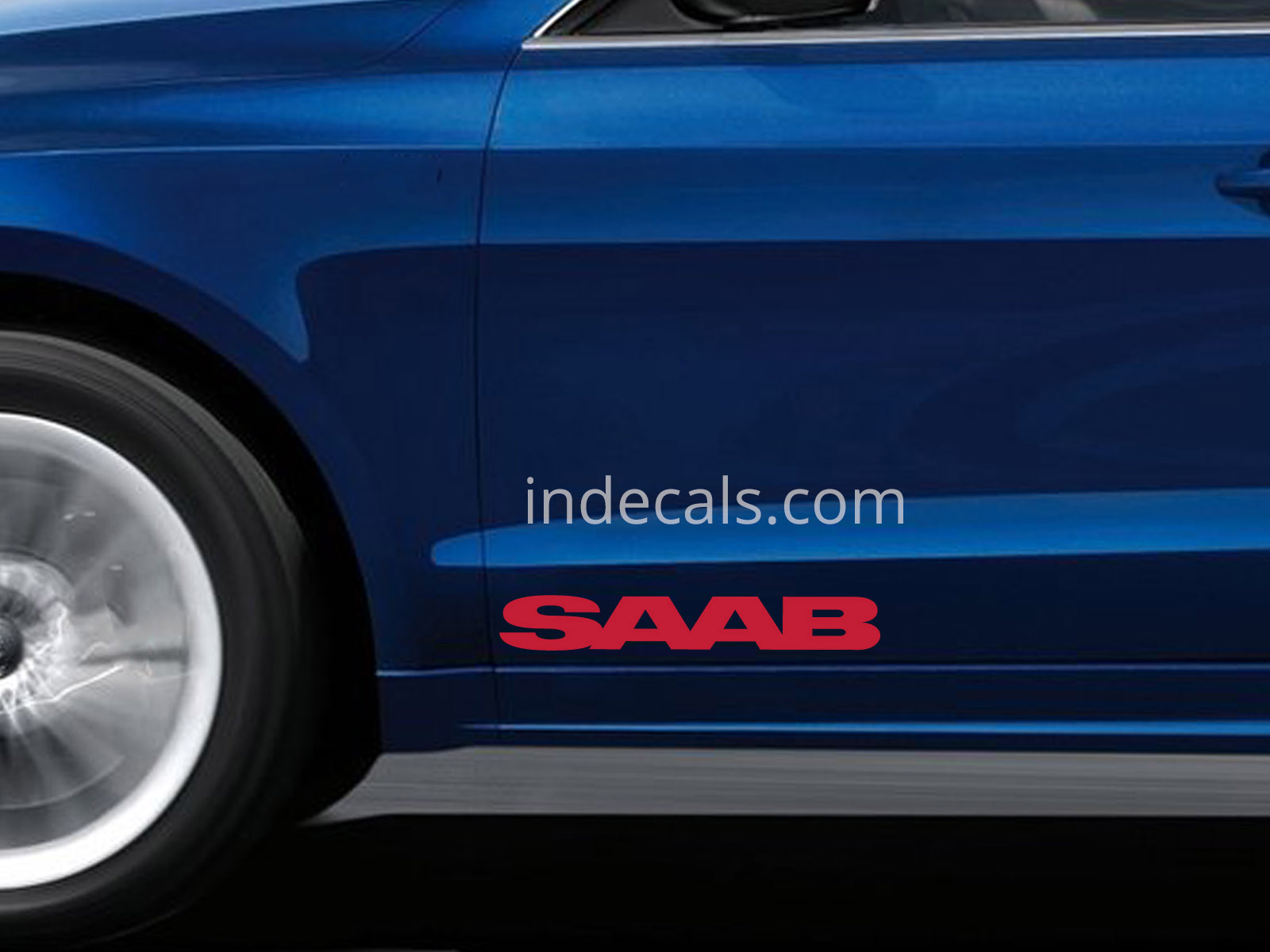 2 x Saab Stickers for Doors Large - Red