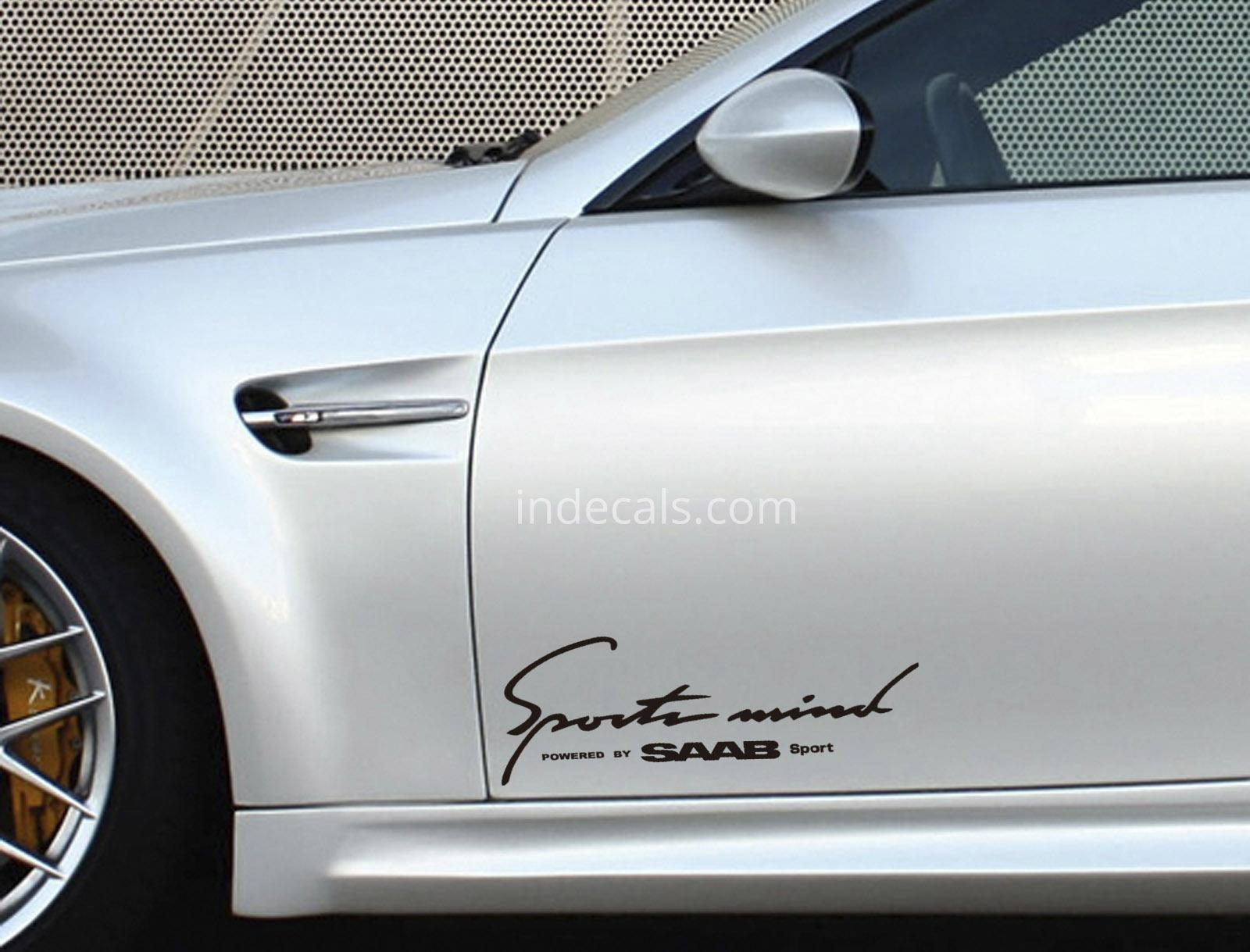2 X Saab Sports Mind Stickers Xl Black Indecalscom