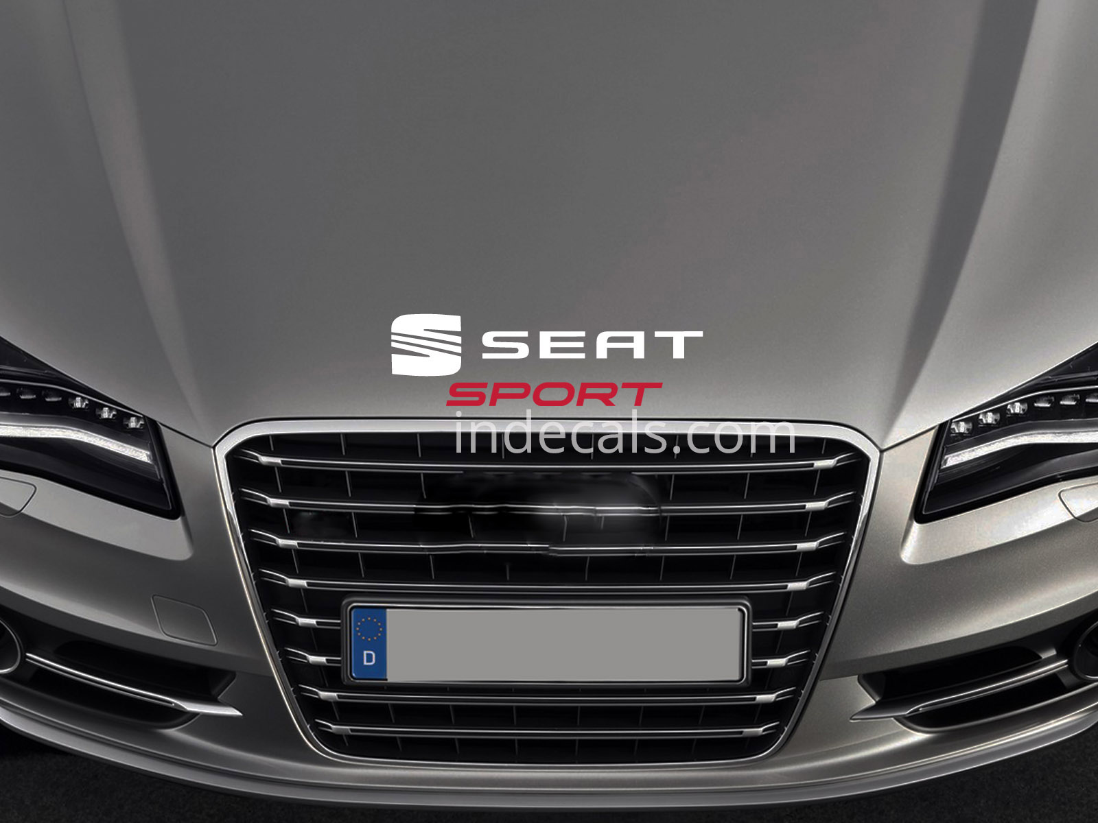 1 x Seat Sport Sticker for Bonnet - White & Red