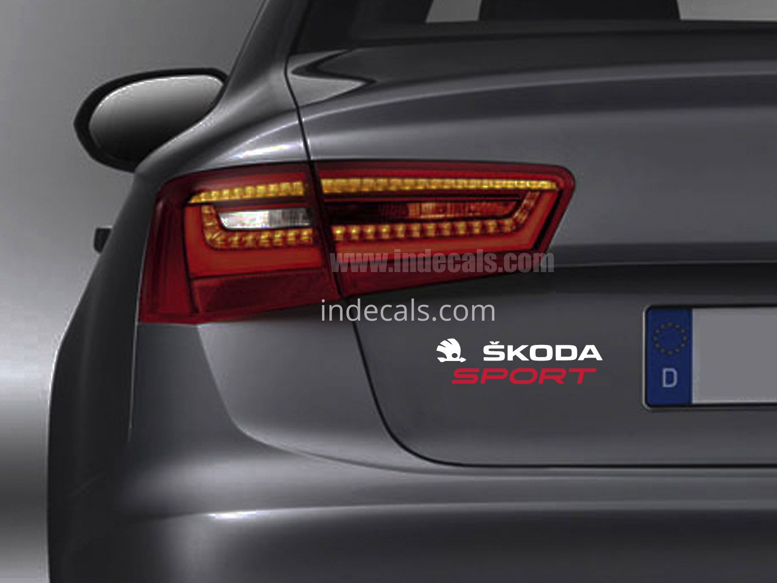 1 x Skoda Sports Sticker for Trunk - White & Red