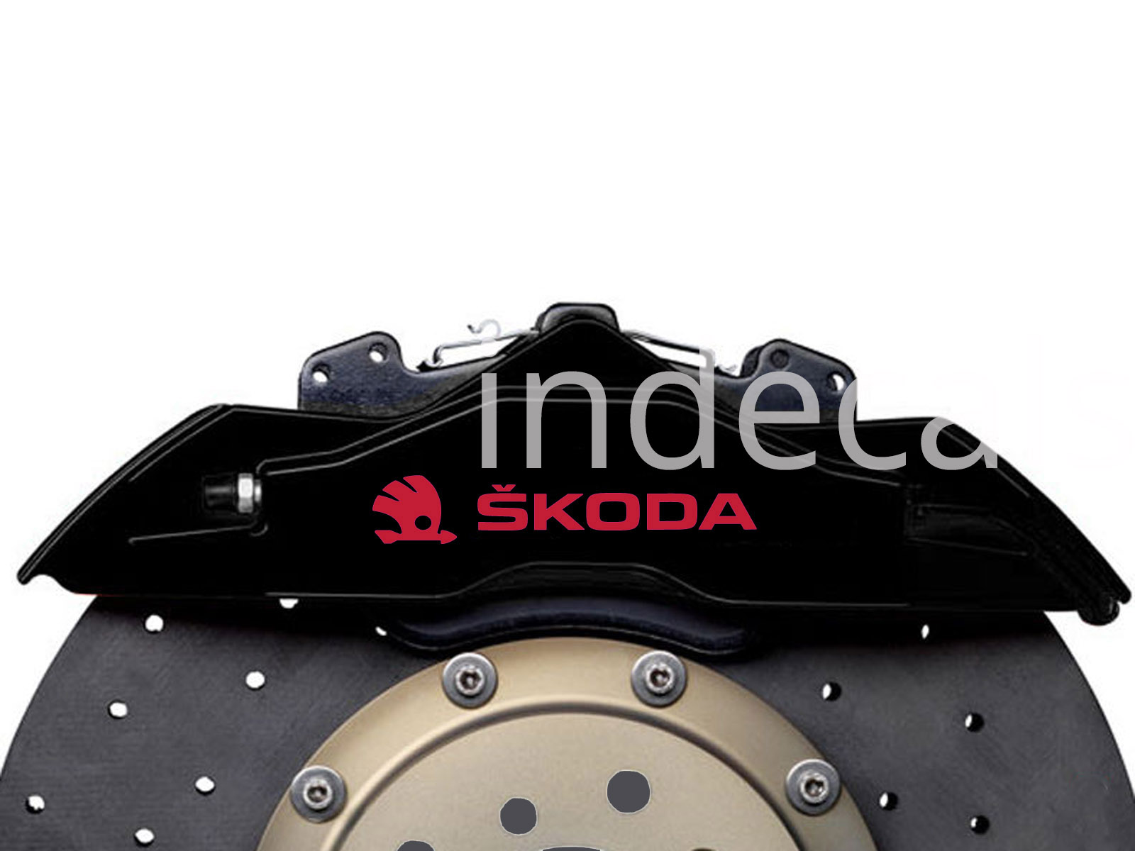 6 x Skoda Stickers for Brakes - Red