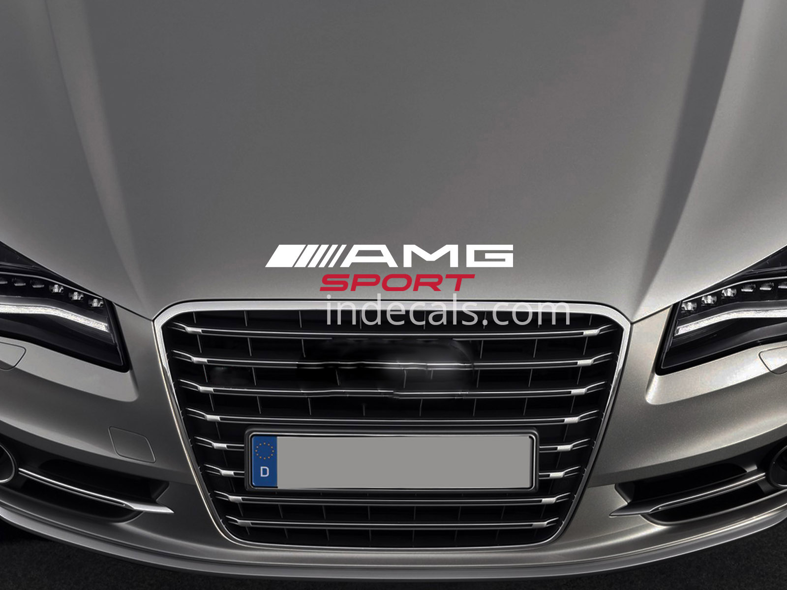 1 x AMG Sport Sticker for Bonnet - White & Red
