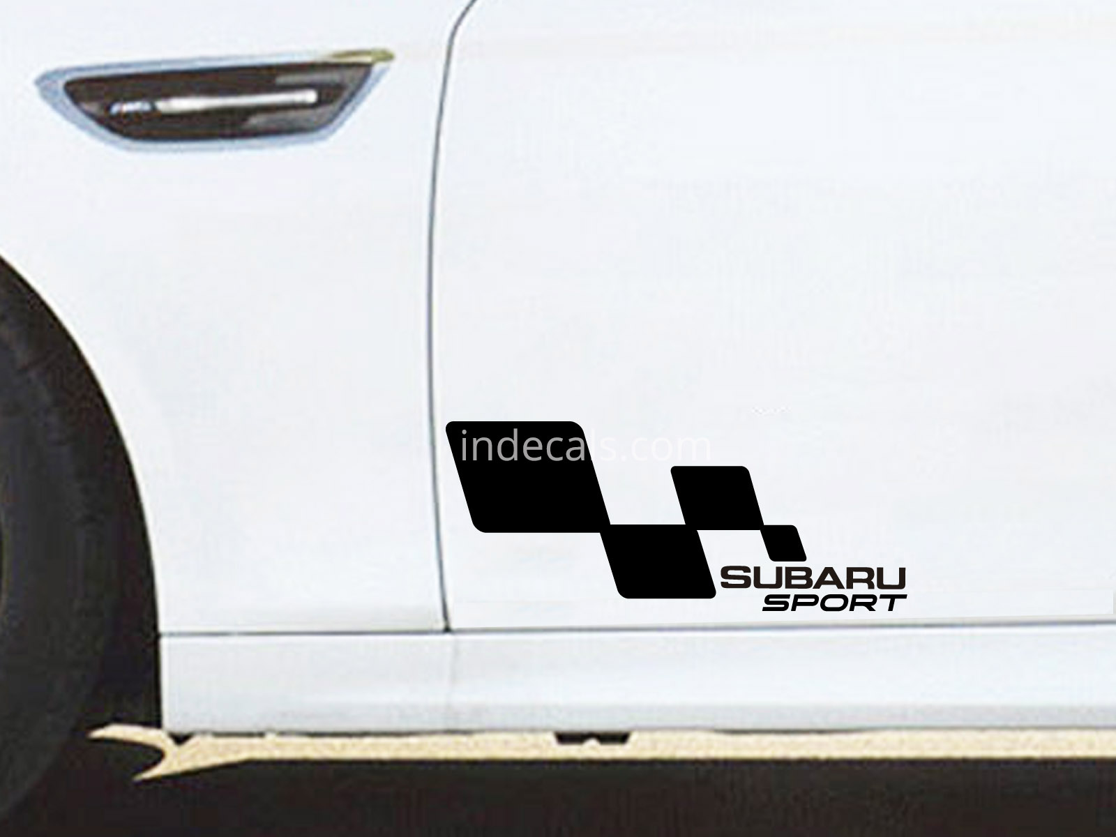 2 x Subaru Racing Flag Stickers - Black