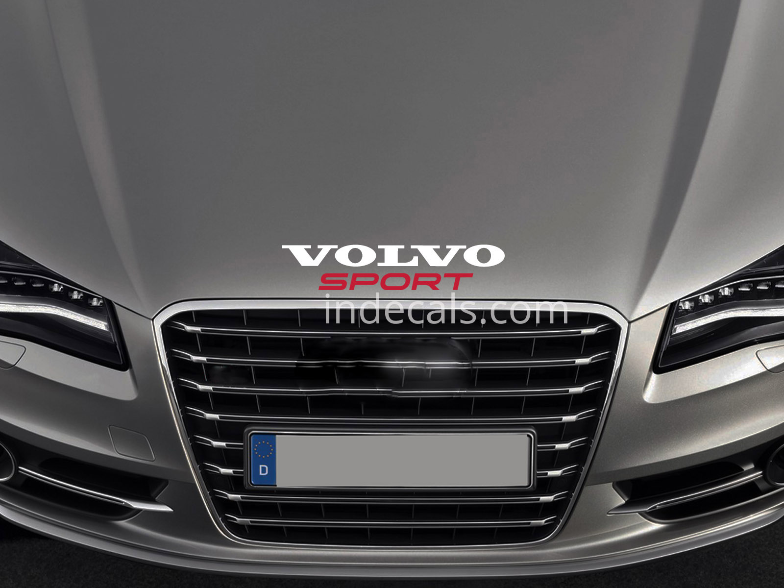 1 x Volvo Sport Sticker for Bonnet - White & Red