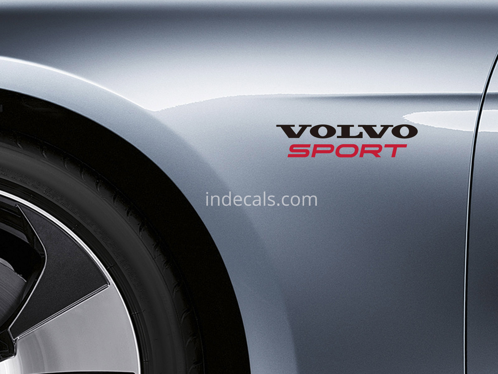 2 X Volvo Sports Stickers For Wings   Black U0026 Red