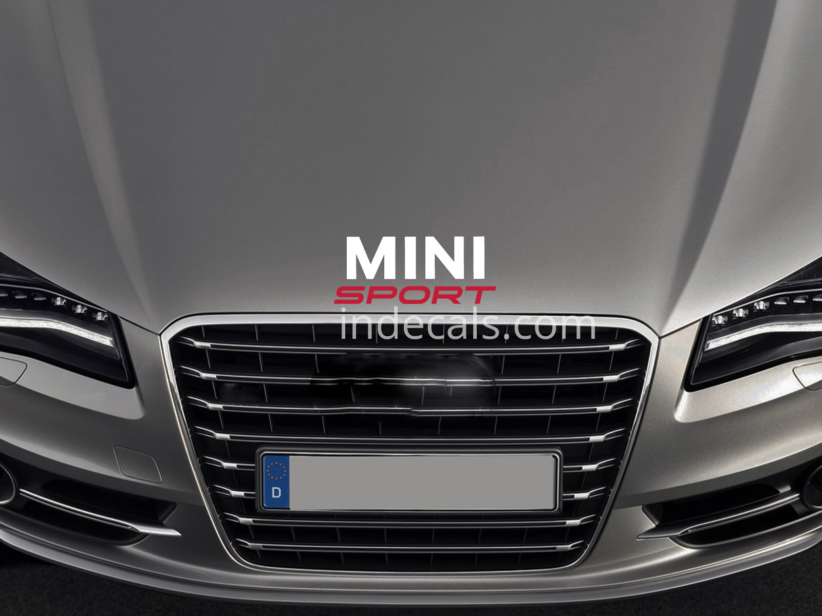 1 x Mini Sport Sticker for Bonnet - White & Red