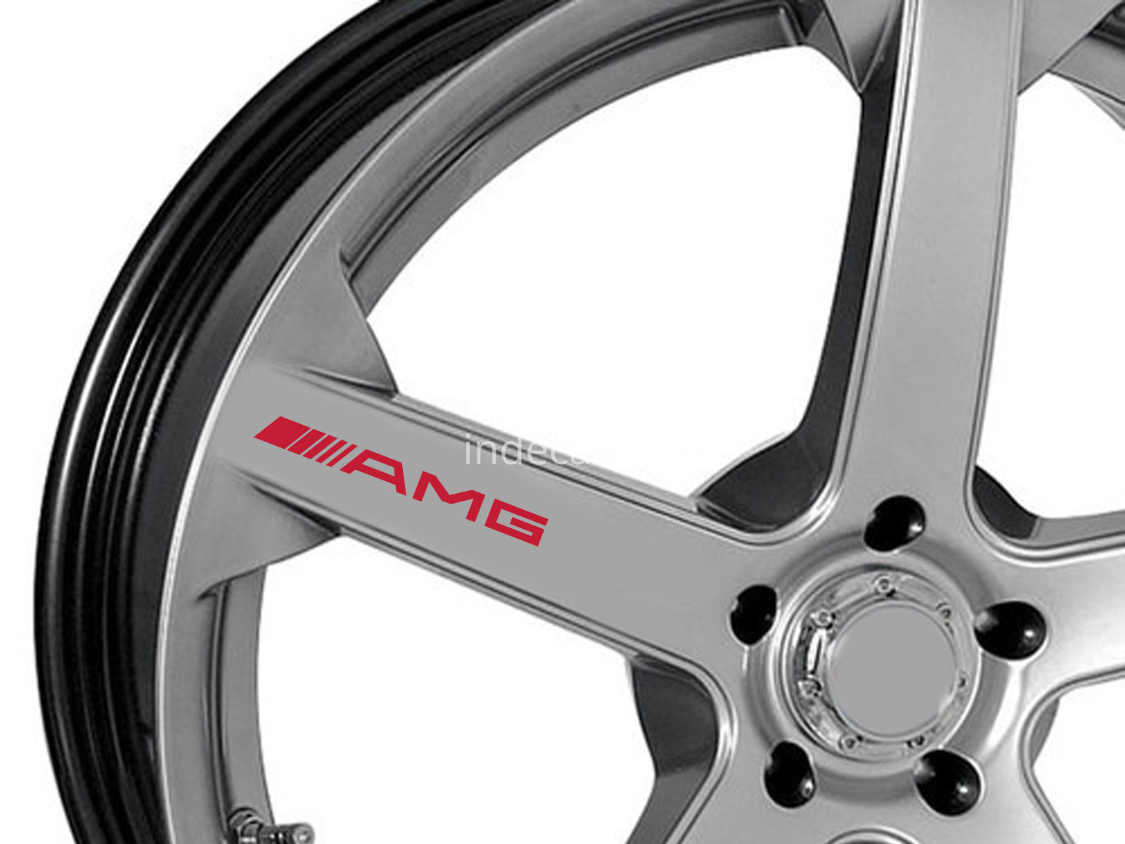6 x AMG Stickers for Wheels - Red