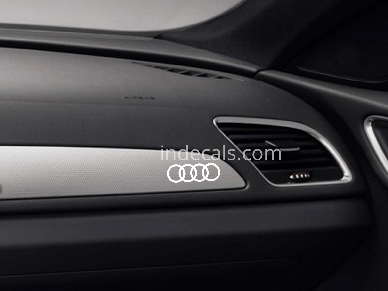 3 x Audi Rings Stickers for Dash Trim - White