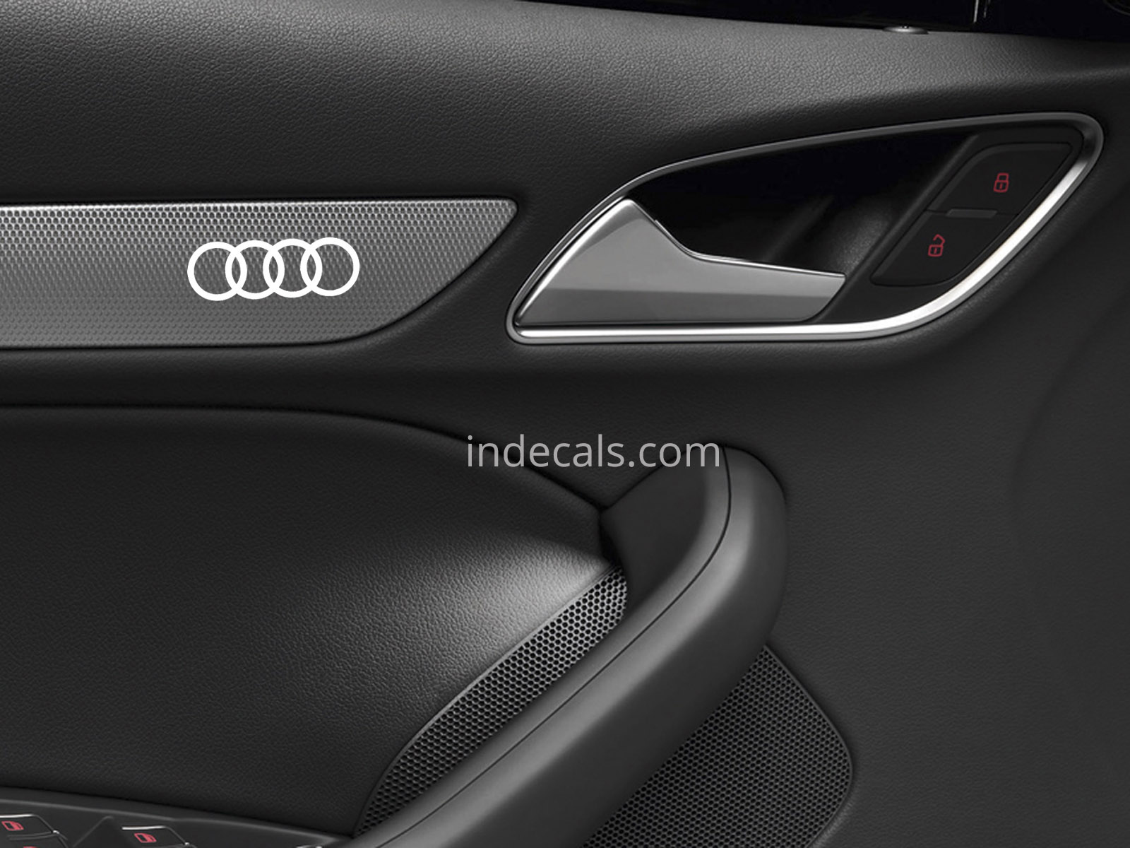 6 x audi rings stickers for door trim - white - indecals