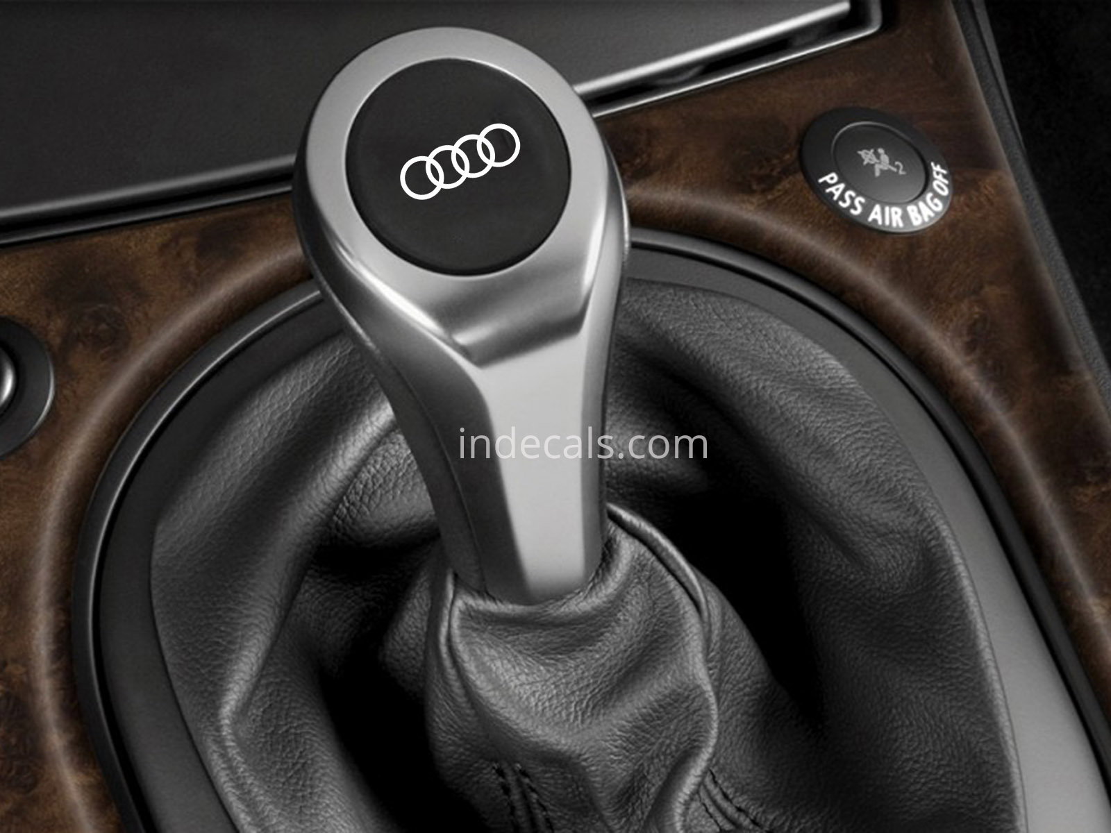 3 x Audi Rings Stickers for Gear Knob - White