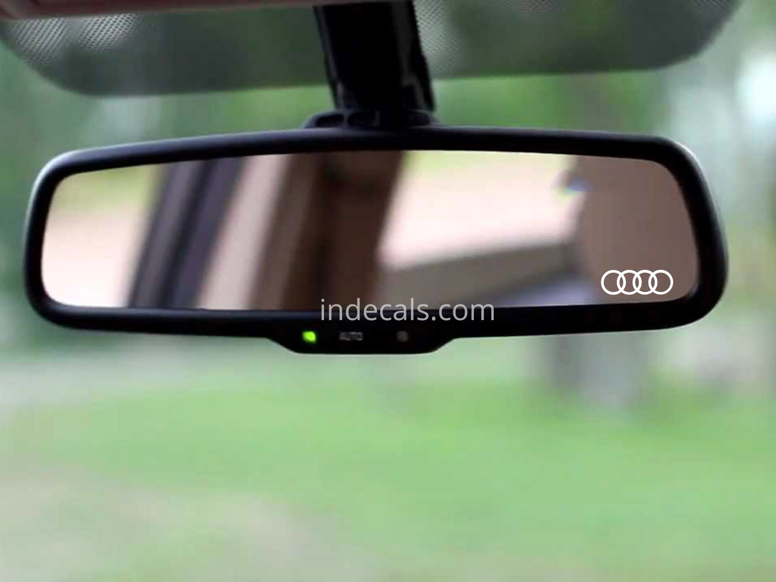 3 x Audi Rings Stickers for Interior Mirror - White