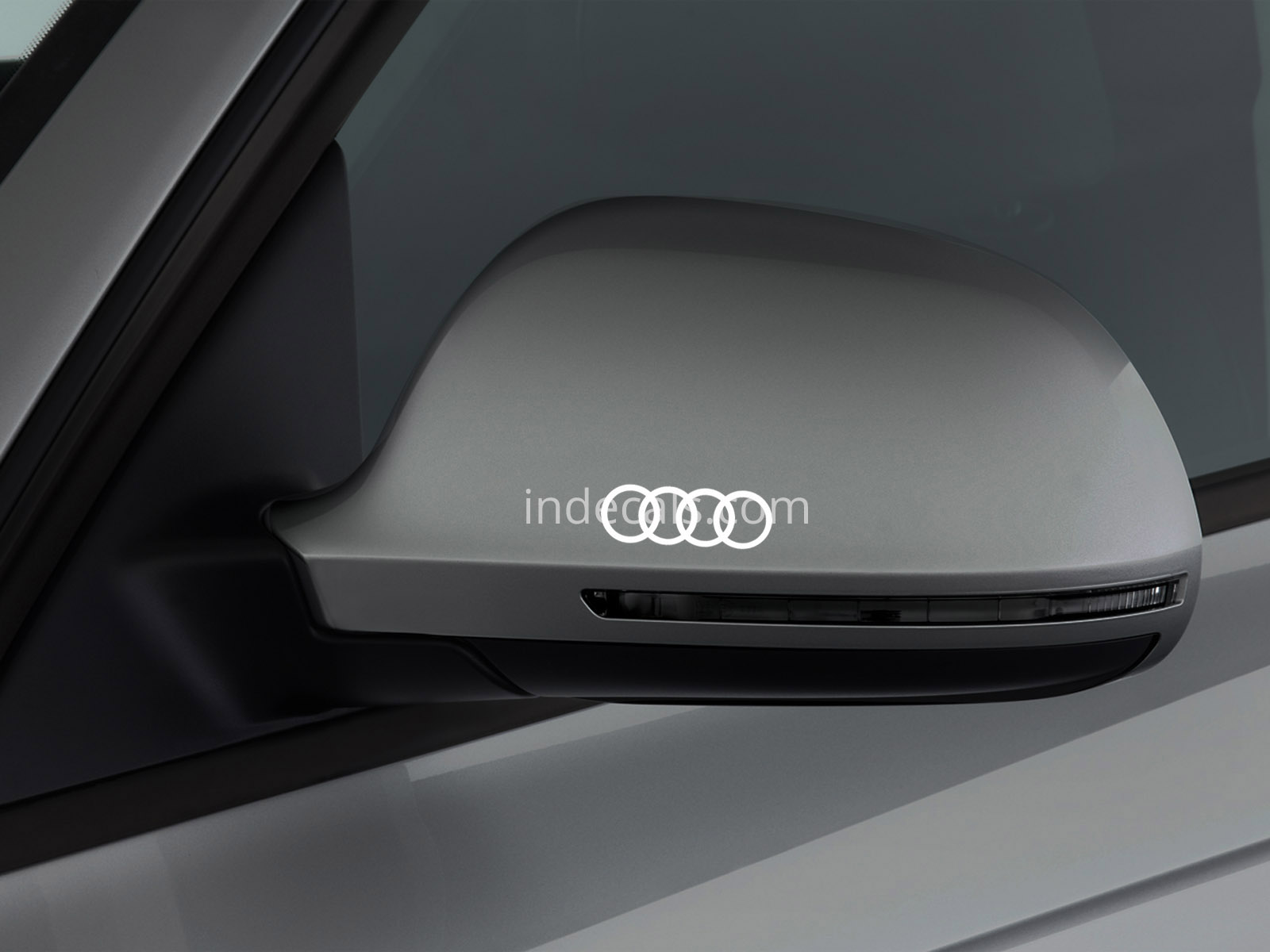 3 x Audi Rings Stickers for Mirror Cover - White