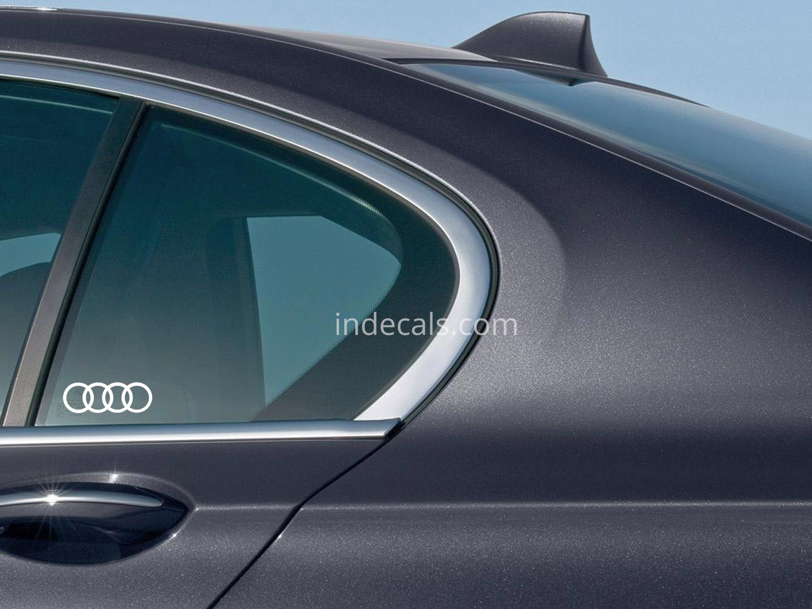 3 x Audi Rings Stickers for Rear Window - White