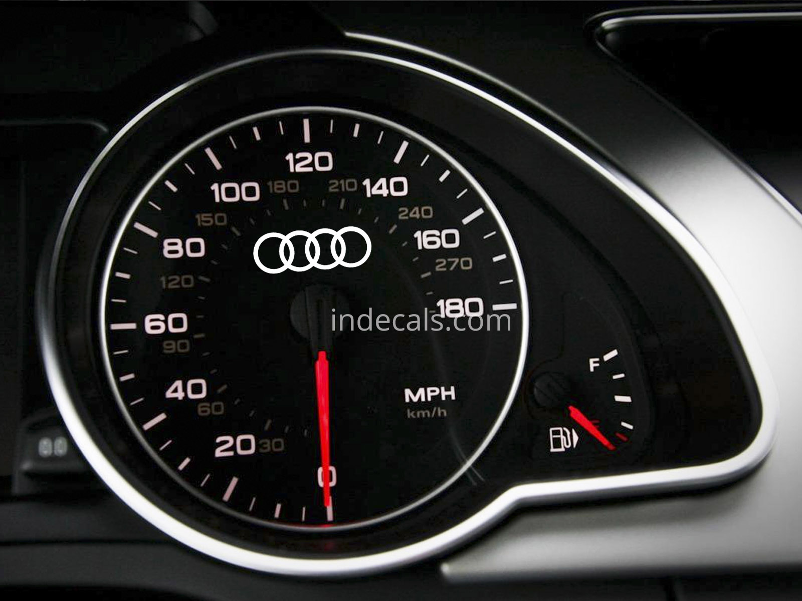 3 x Audi Rings Stickers for Speedometer - White