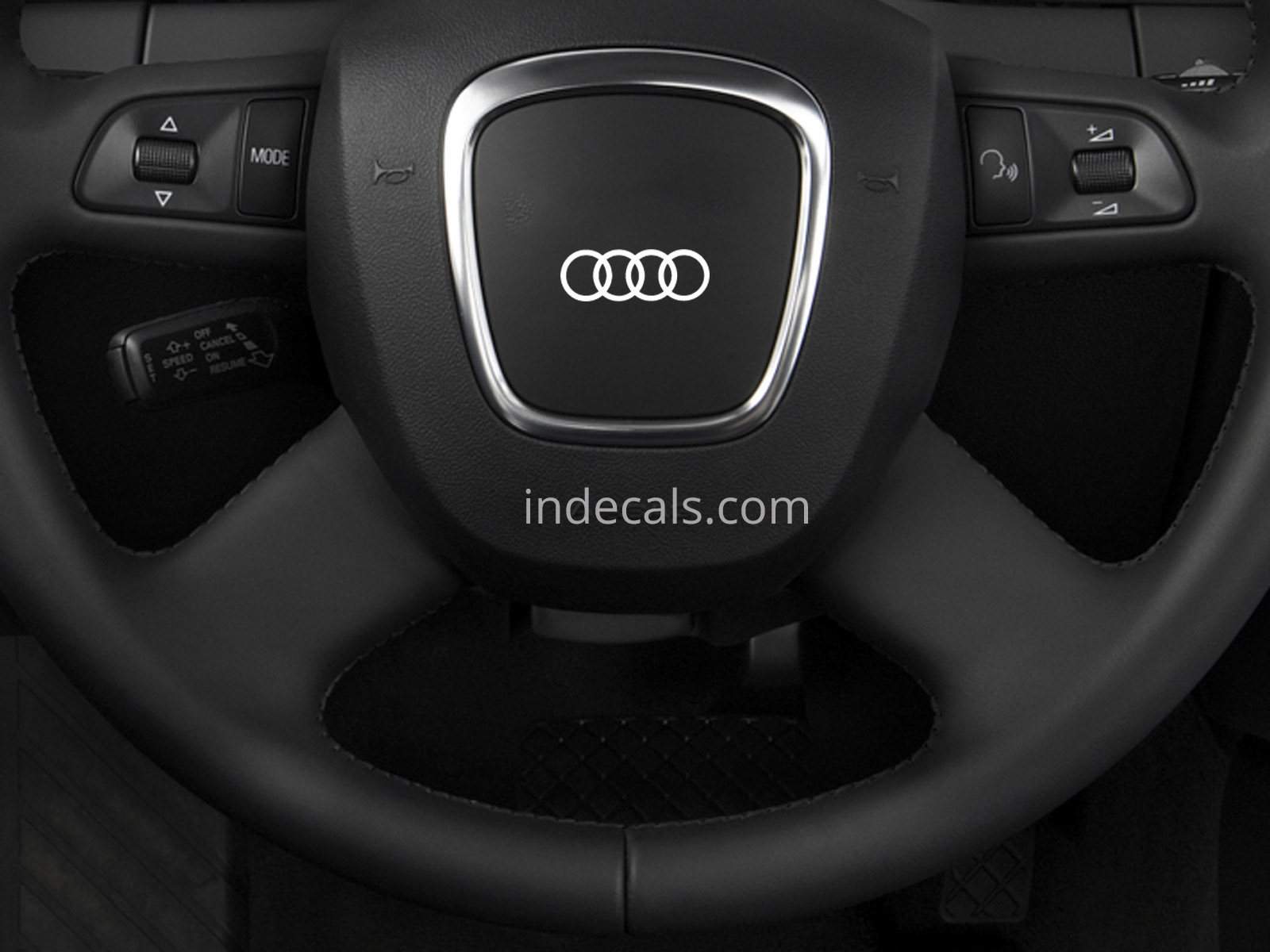 3 x Audi Rings Stickers for Steering Wheel - White
