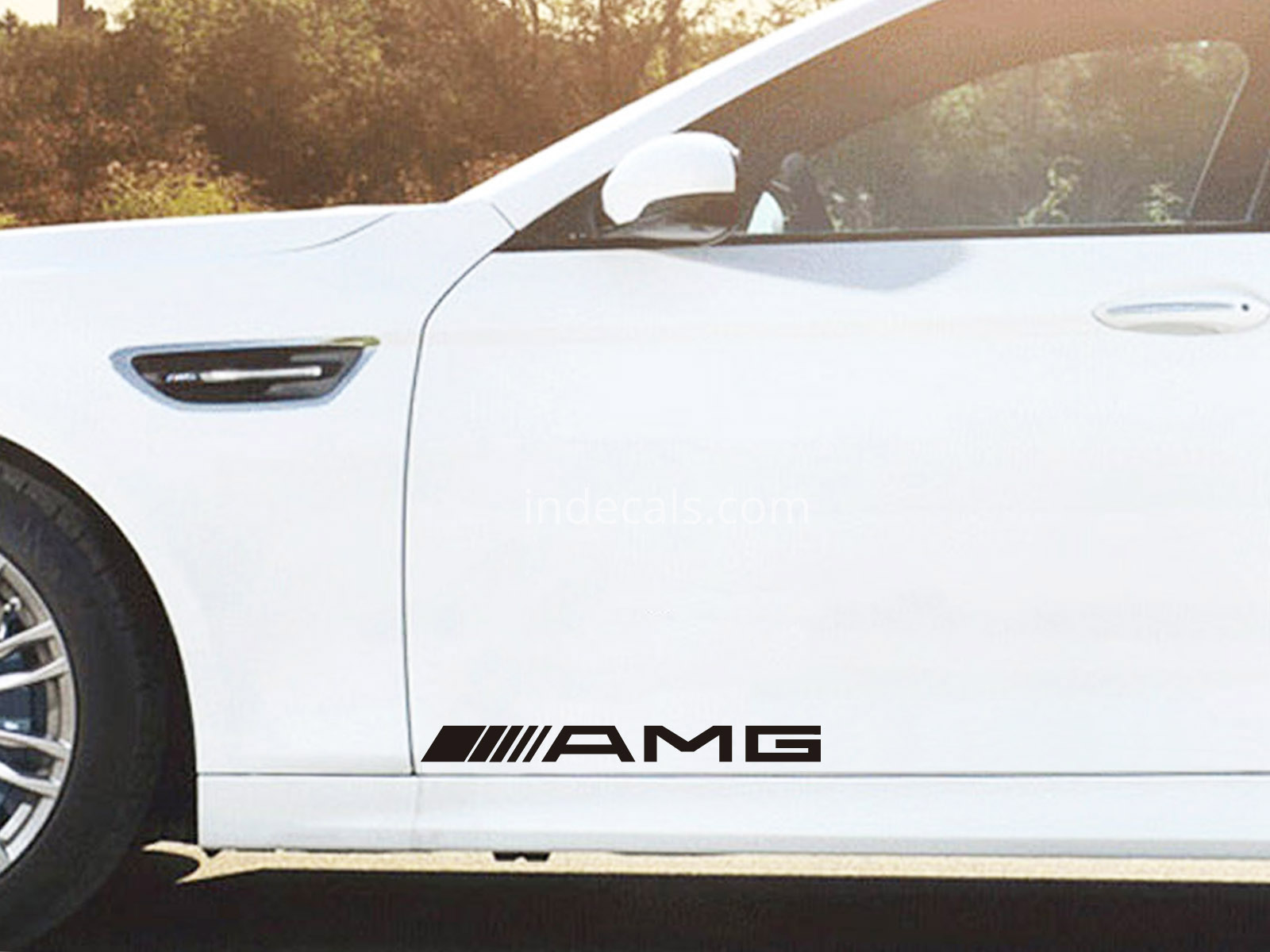 2 x AMG Stickers for Doors Large - Black