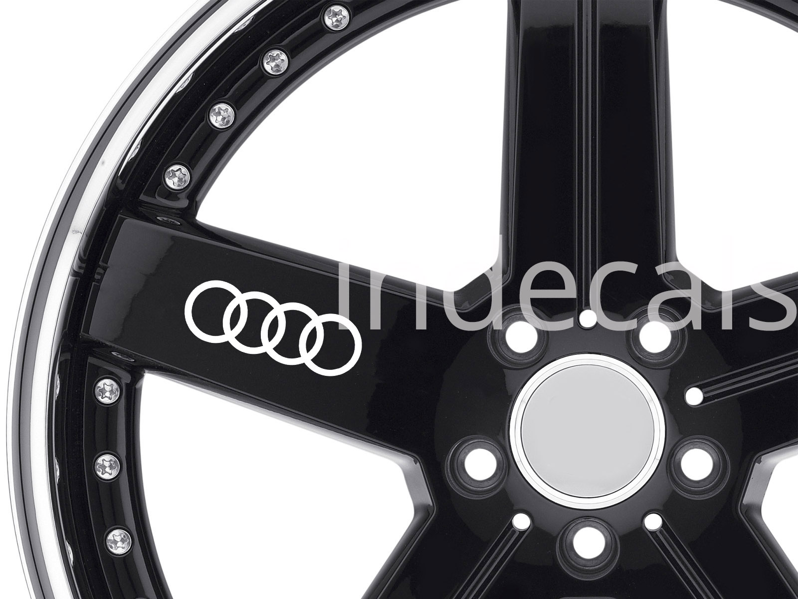 6 x Audi Rings Stickers for Wheels - White