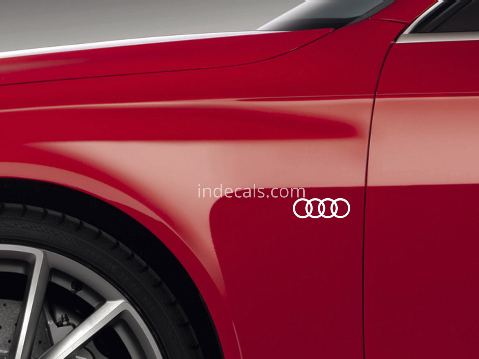 3 x Audi Rings Stickers for Wings - White