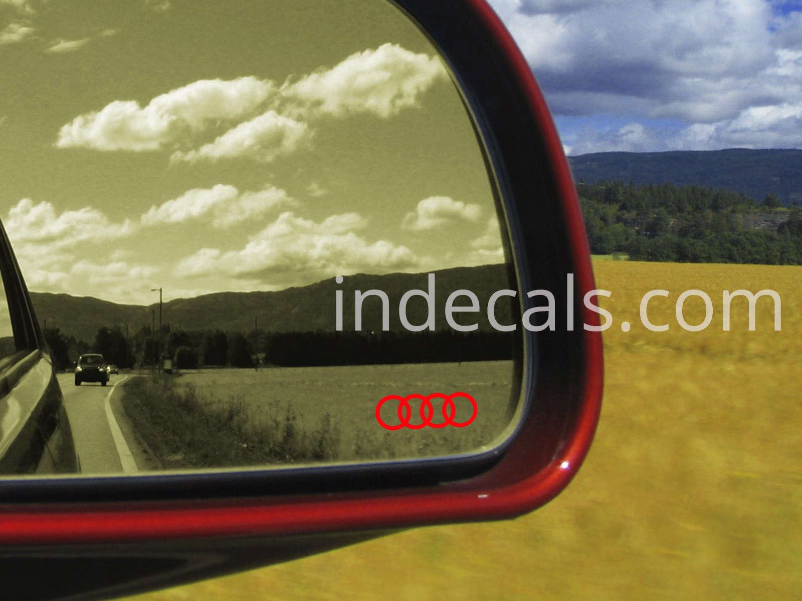 3 x Audi Rings Stickers for Mirror Glass - Red