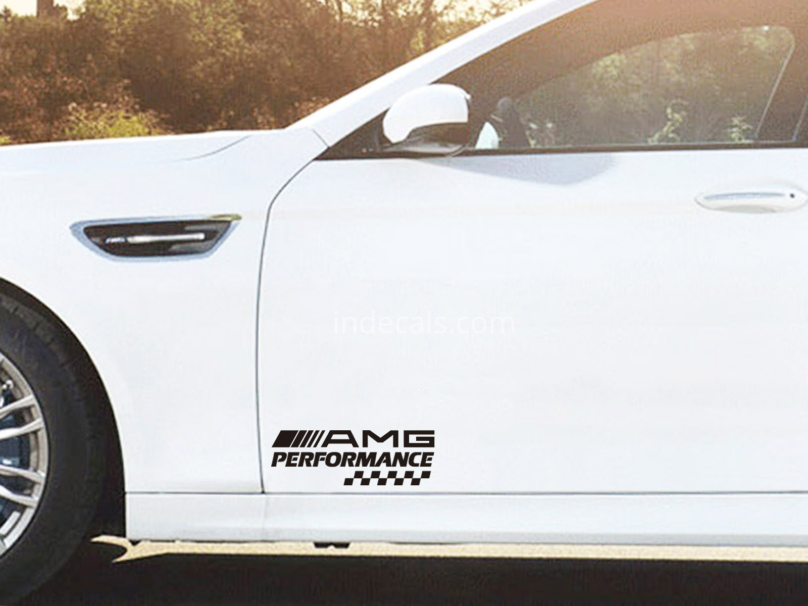 2 x AMG Performance Stickers for Doors - Black