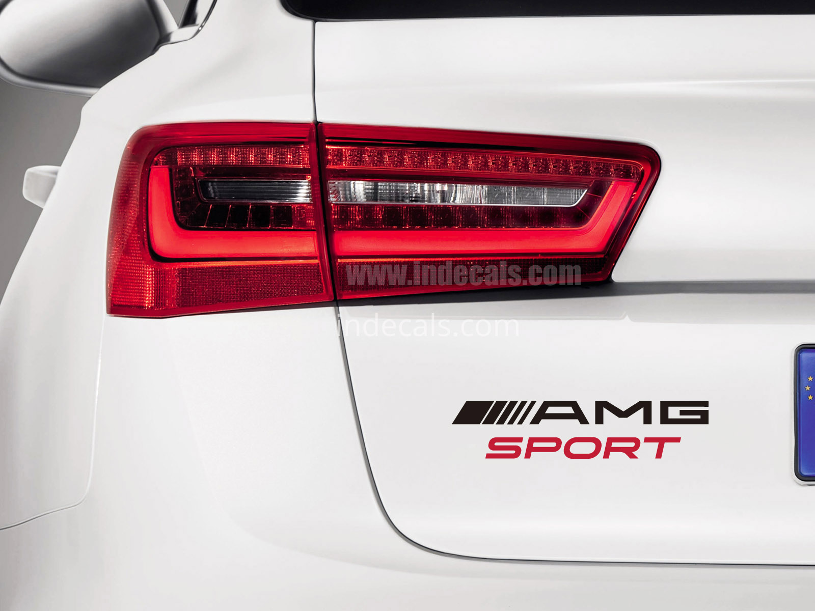 1 x AMG Sports Sticker for Trunk - Black & Red