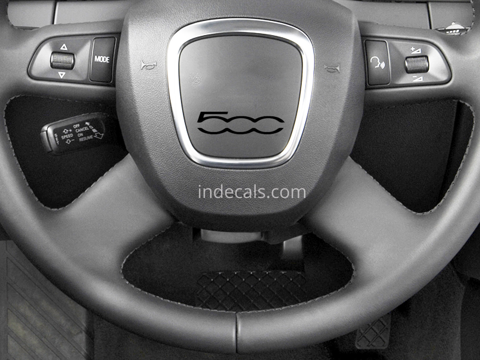 3 x Fiat 500 Stickers for Steering Wheel - Black