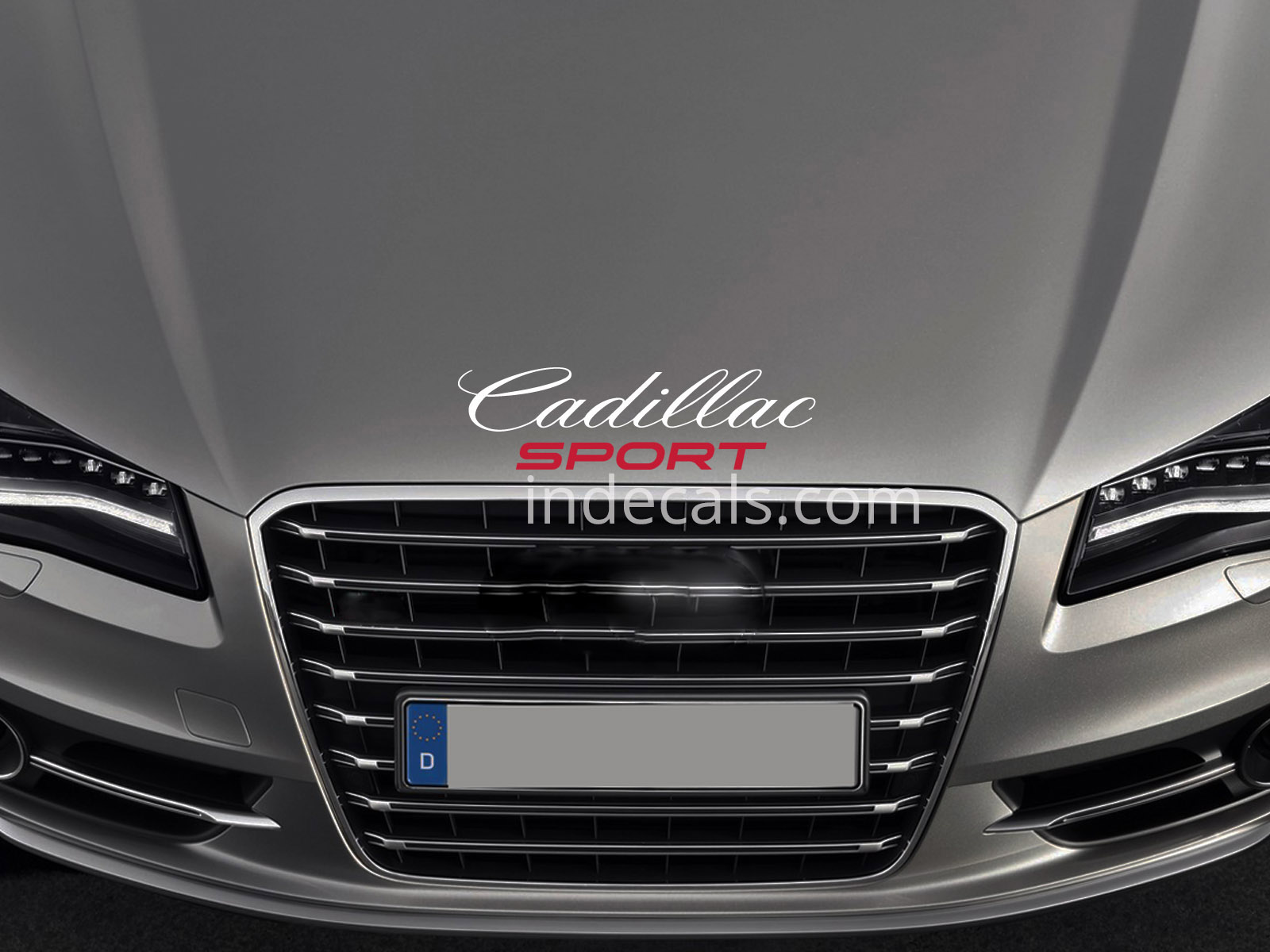 1 x Cadillac Sport Sticker for Bonnet - White & Red