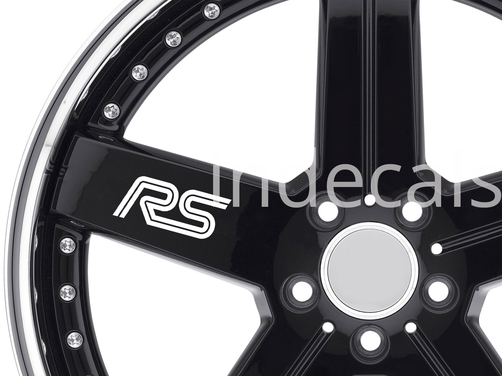 6 x Ford RS Stickers for Wheels - White